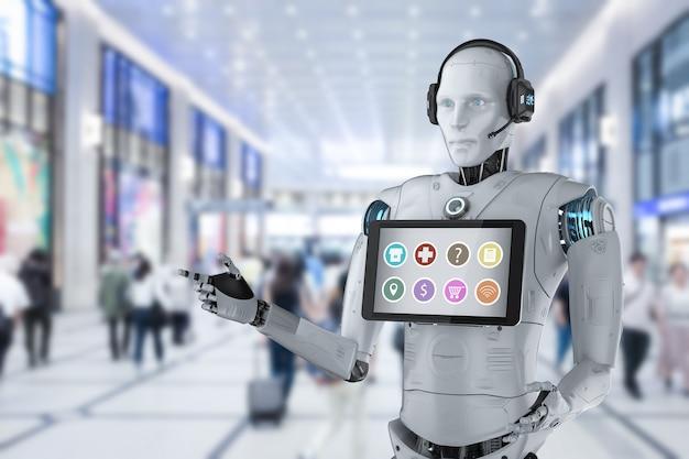 Concetto di assistente robot con rendering 3d robot umanoide con applicazione su tablet