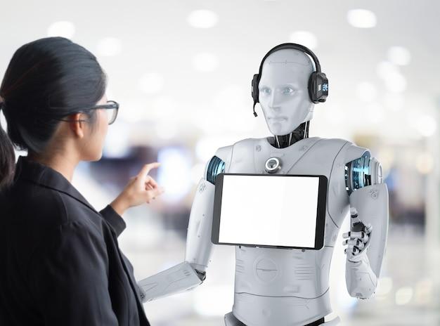 Il concetto di assistente robot con rendering 3d robot umanoide con tablet schermo vuoto comunica con l'essere umano