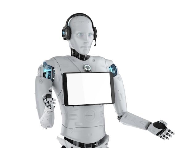 Concetto di assistente robot con rendering 3d robot umanoide con tablet schermo vuoto