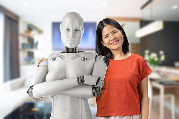 Il concetto di assistente del robot con la donna asiatica tiene il cyborg femminile della rappresentazione 3d
