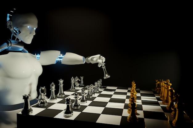 Eserciti di scacchi di robot sulla scacchiera di legno. posto vuoto per il testo. battaglia di scacchi, vittoria di scacchi, concetto di scacchi, illustrazione 3d