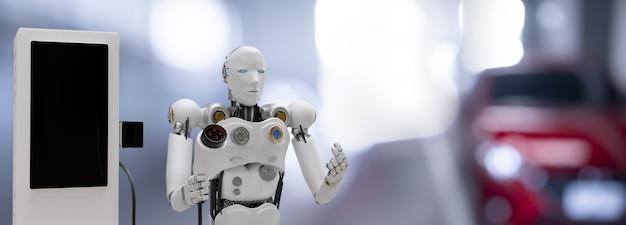 Robot cyber futuro futuristico umanoide hi tech industria garage ev-car caricatore ricarica rifornimento stazione elettrica veicolo trasporto trasporto futuro clienti auto per trasporto automobilistico automobile