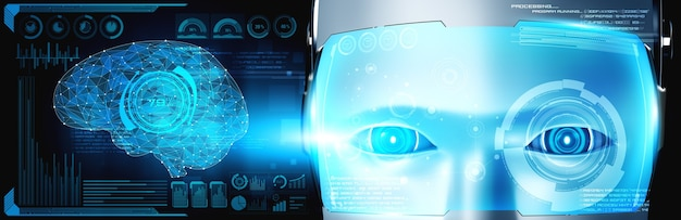 Primo piano del volto umanoide del robot con il concetto grafico del cervello pensante ai
