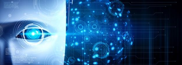 Robot umanoide faccia da vicino con il concetto grafico di big data analitica