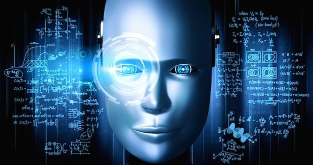 Robot umanoide faccia da vicino con il concetto grafico di studio di scienze ingegneristiche