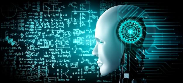 Primo piano del volto umanoide del robot con il concetto grafico di studio delle scienze ingegneristiche