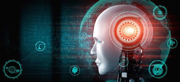 Robot umanoide faccia da vicino con il concetto grafico di studio delle scienze ingegneristiche