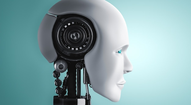 Robot umanoide viso e occhi vista ravvicinata rendering 3d