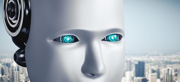 Occhi e viso umanoide robot vista ravvicinata rendering 3d