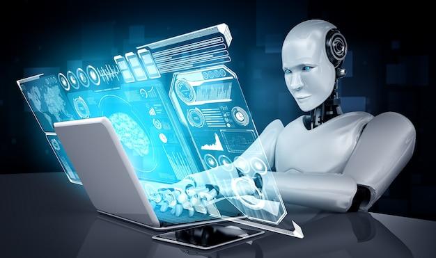 L'umanoide robot usa il laptop e si siede al tavolo per l'analisi dei big data