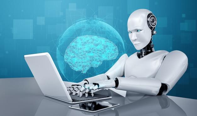 Robot umanoide usa il laptop e si siede a tavola nel concetto di cervello pensante ai