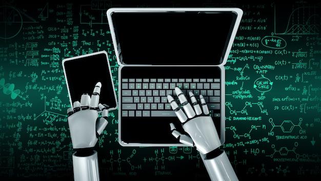 Robot umanoide usa il laptop e si siede al tavolo per studiare scienze ingegneristiche