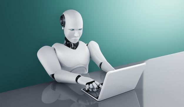 L'umanoide robot usa il laptop e si siede al tavolo nell'ufficio futuro
