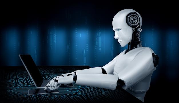 Robot umanoide usa il laptop e si siede al tavolo nel futuro ufficio