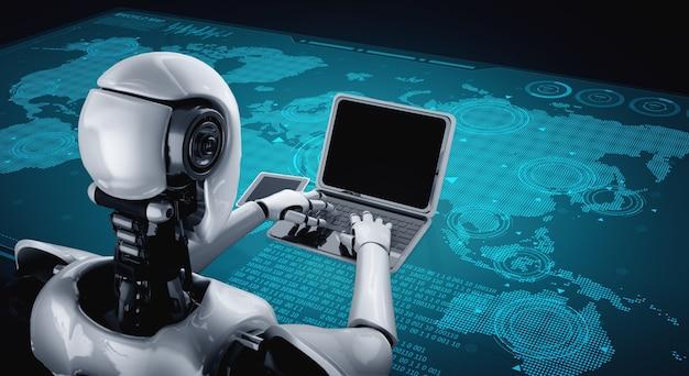 Robot umanoide usa il laptop e si siede al tavolo per la connessione di rete globale