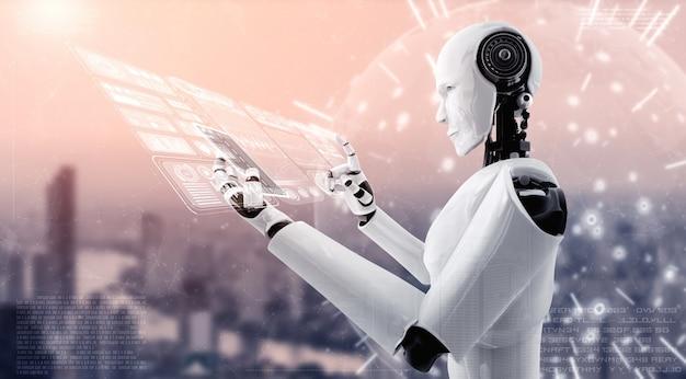 Robot umanoide utilizza il cellulare o il tablet per l'analisi dei big data utilizzando il cervello pensante ai