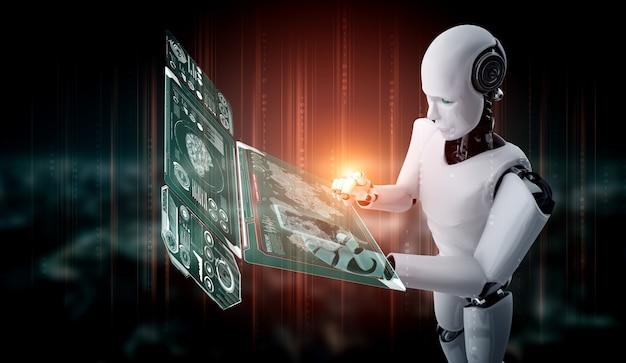 Robot umanoide utilizza il telefono cellulare o il tablet per l'analisi dei big data
