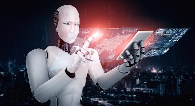 L'umanoide robot utilizza il telefono cellulare o il tablet per l'analisi dei big data