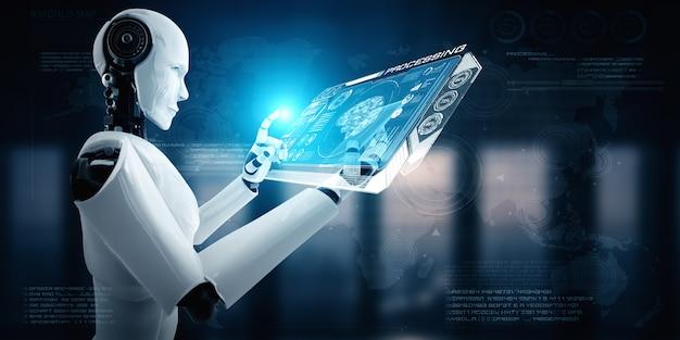 Robot umanoide utilizza il telefono cellulare o il tablet nel concetto di cervello pensante ai