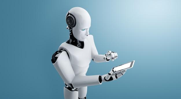 L'umanoide robot usa il telefono cellulare o il tablet nell'ufficio futuro
