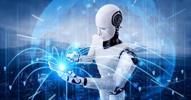 Robot umanoide utilizza il telefono cellulare o il tablet per la connessione di rete globale