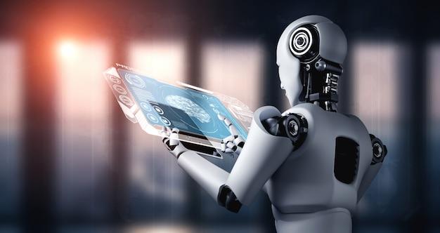 Robot umanoide che utilizza un computer tablet per l'analisi dei big data utilizzando il pensiero ai brai