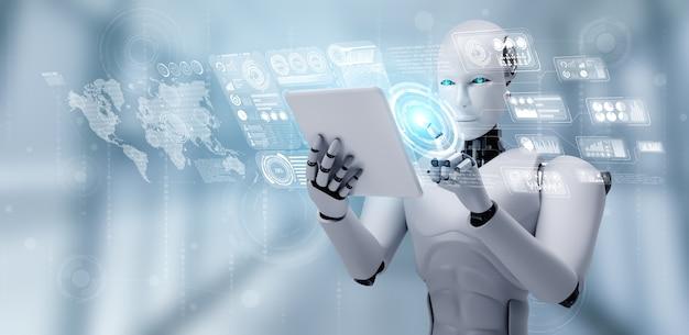 Robot umanoide che utilizza computer tablet per analisi di big data utilizzando il cervello pensante ai