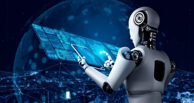 Robot umanoide utilizzando computer tablet per analisi di big data
