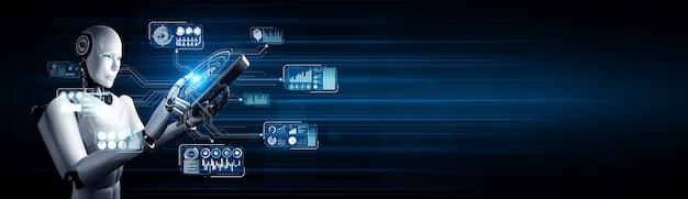 Robot umanoide che utilizza un computer tablet per l'analisi dei big data