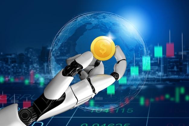 Consulente per investimenti e denaro in robot