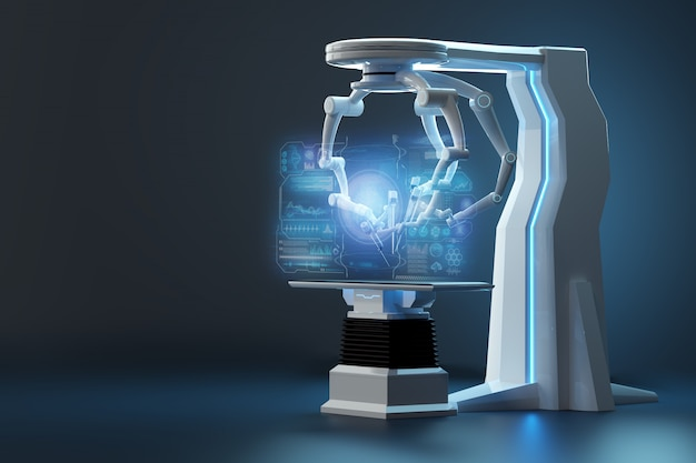 Robot chirurgo, attrezzatura robotica. innovazione chirurgica mini-invasiva con panoramica tridimensionale. tecnologia, futuro della medicina, chirurgo. rendering 3d, illustrazione 3d.