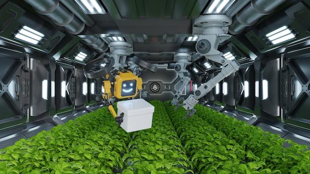 Robotico nel concetto futuristico di agricoltura.