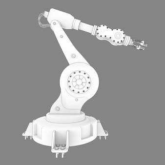 Braccio robotico per qualsiasi lavoro in fabbrica o produzione. apparecchiature meccatroniche per compiti complessi. illustrazione 3d.