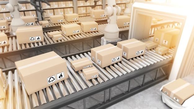 Braccio robotico per gestire l'automazione delle merci nella gestione del prodottotrasporto robotico e merci