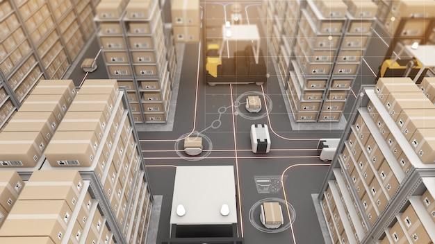 Trasporto robotizzato e automazione della movimentazione delle merci nella gestione dei prodottitecnologia di magazzino