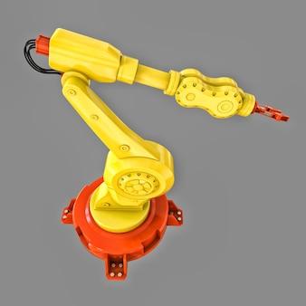 Braccio robotico giallo per qualsiasi lavoro in fabbrica o produzione. apparecchiature meccatroniche per compiti complessi. illustrazione 3d.