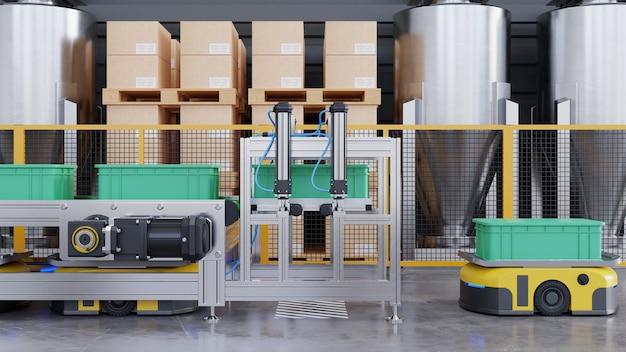 Robot che smistano in modo efficiente centinaia di pacchi all'ora. rendering 3d