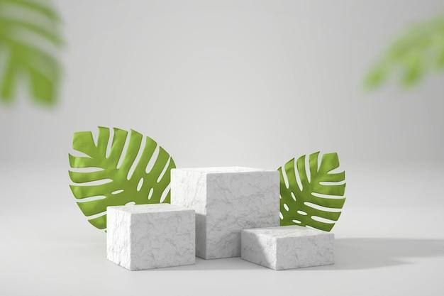 I cubi di roccia stanno per la vetrina dell'esposizione del prodotto con la rappresentazione 3d della decorazione delle foglie di monstera