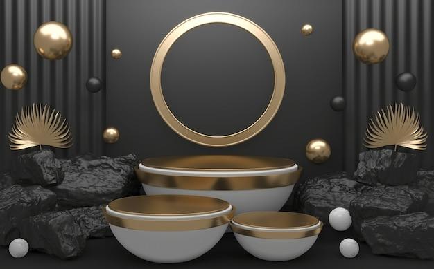 Pietre di roccia sul podio geometrico per la presentazione del prodotto. rendering 3d