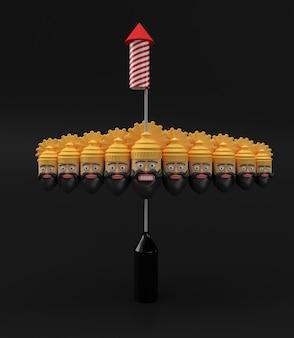 Razzo petardi in una pentola con ravana dieci teste 3d rendering illustrazione.