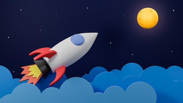 Razzo che vola sopra la nuvola va sulla luna sullo sfondo della galassia.concetto di avvio aziendale modello 3d e illustrazione.
