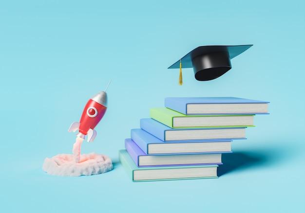 Razzo che vola in cima a una pila di libri nel concetto di laurea