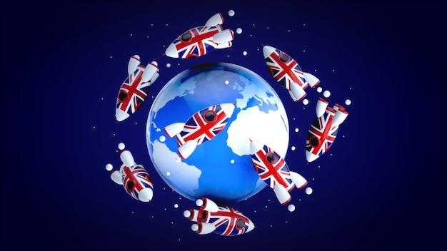 Razzi in tutto il mondo - illustrazione 3d