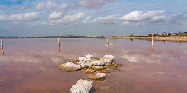 Rocce in un lago salato rosa laguna rosa, torrevieja, riflesso sull'acqua dalle nuvole, panorama