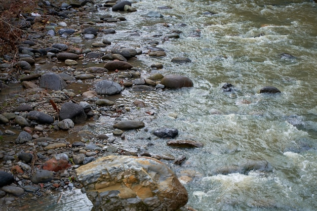 Riva rocciosa di un fiume di montagna che scorre giù dalle montagne e scorre attraverso la città.