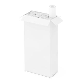 Rotoli di carta da parati in scatola di cartone come stile argilla su sfondo bianco. rendering 3d