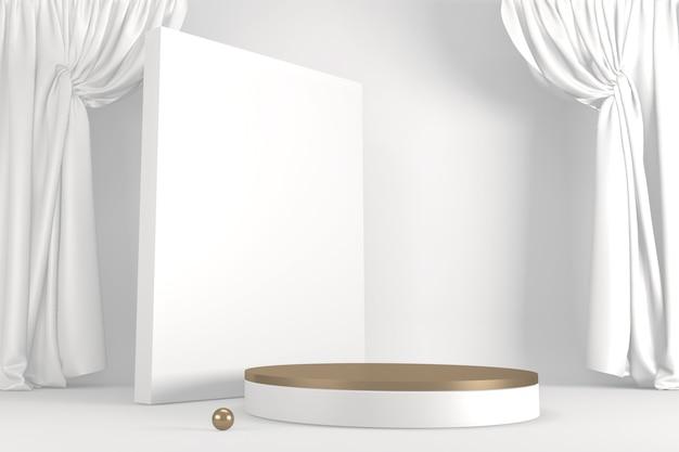 Podio romano bianco per prodotto cosmetico su fondo bianco granito. rendering 3d