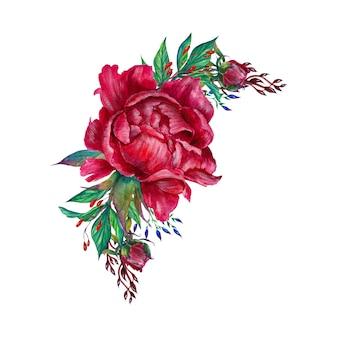 Disposizione dei fiori romantica, fiori di peonia, isolati Foto Premium