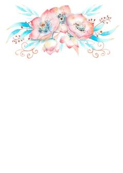 Cornice romantica con fiori di elleboro rosa, boccioli, foglie, ramoscelli decorativi su sfondo acquerello. illustrazione ad acquerello, fatta a mano.
