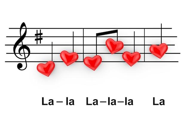 Concetto di musica romantica. note astratte come cuori rossi su sfondo bianco. rendering 3d